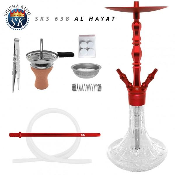 shisha-set-sks-638-al-hayat-red-aluminium-wasserpfeife