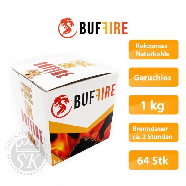 Buffire Kokosnuss Naturkohle Geruchlos 1kg Brenndauer ca. 2 Stunden 64 Stk