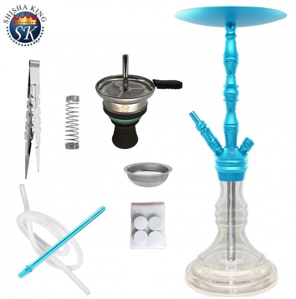 SKS 700 Tiffany Shisha Wasserpfeife Set Skyblue / Clear